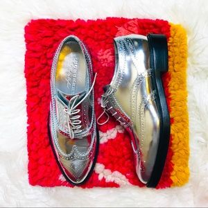 NEW Burberry Silver Brogue Leather Gennie Oxfords